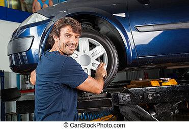 stop, zamocowywanie, mechanik, zmęczyć, wóz