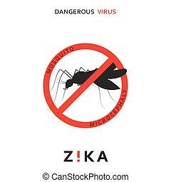 Stop zika. Dangerous virus. Caution virus threat. Mosquitoes infected microcephaly