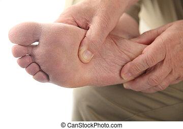 stopa, jego, sprawdzania, zbolały, człowiek