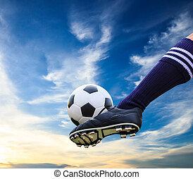 stopa, kopanie, piłka do gry w nogę