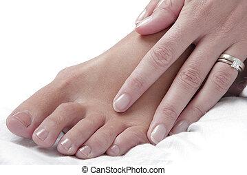 stopa masują, ręka