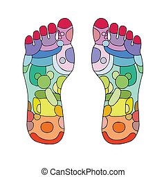 stopa, refleksologia, punkty, masaż
