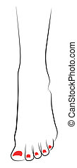 stopa, samica, czerwony, pedicure