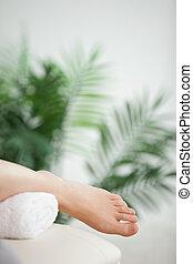 stopa, umieszczony, szczelnie-do góry, ręcznik