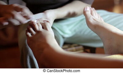 stopa, zatkać się, pedicure