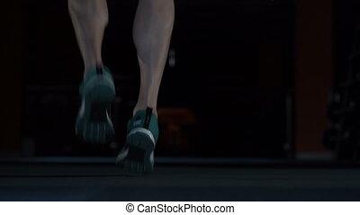 stopa, związać, atleta, skokowy, closeup