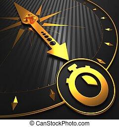 stoper, złoty, czarnoskóry, compass., ikona