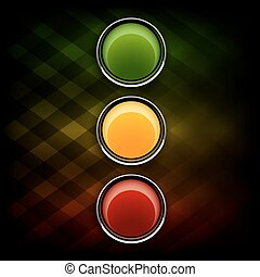 Stoplight - Green, orange and red buttons as stoplight ...