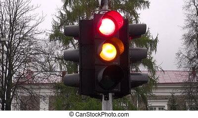 stoplight colors in city street
