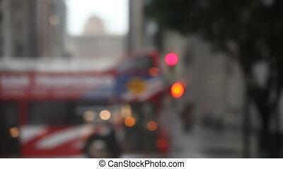 stoplight, rain, San Francisco - defocused pedestrians cross...