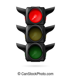 Stoplight - Realistic traffic lights with red color on. ...
