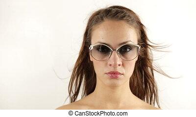 stopmotion, 의, a, 남자가 멋을 낸, 여자, 입는 것, 다른, retro, 색안경
