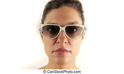 stopmotion, od, niejaki, ładny, kobieta, chodząc, różny, retro, sunglasses