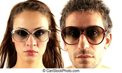 stopmotion of a man and woman wearing different retro...