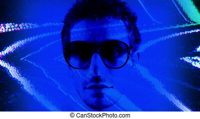 stopmotion of a man wearing different retro sunglasses