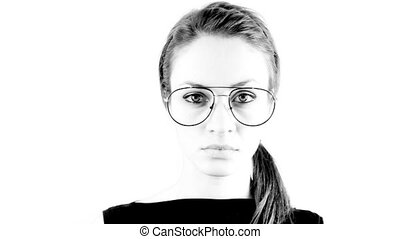 stopmotion of a woman wearing different retro glasses