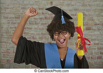stopniowany, dziewczyna, kolegium, dyplom