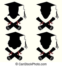 stopniowany, głowa, ikona, dyplom, ludzie