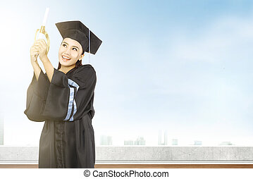 stopniując, kobieta, dyplom, kolegium, asian, mortarboard, kapelusz