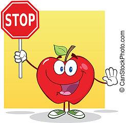 stopp, äpple, holdingen, underteckna