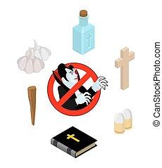stopp, dracula., sätt av verktyg, för, utrotning, av, vampires:, vigvatten, och, bible., kors, och, asp, stake., vitlök, och, silver projektil