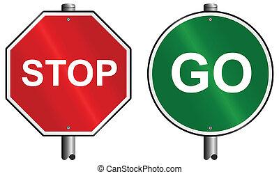 stopp, gå, undertecknar