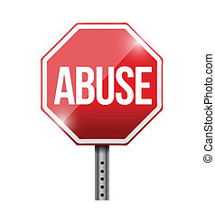 stopp, missbruk, vägmärke, illustration, design