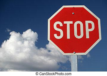 stopp, röd, underteckna
