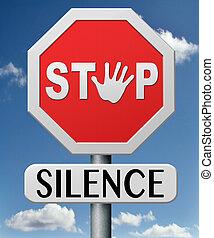 stopp, tystnad