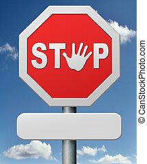 stopp, väg, underteckna