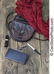 stoppa, väska, kvinna, handväska