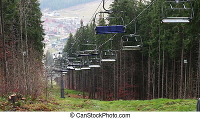 Stopped ski lifts in the autumn in the mountains.