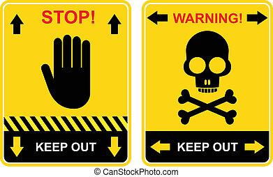 stoppen, bewaren, meldingsbord, -, uit