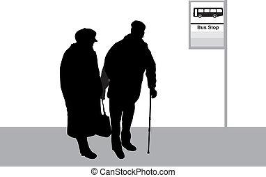 stoppen, bus, senior, -, paar