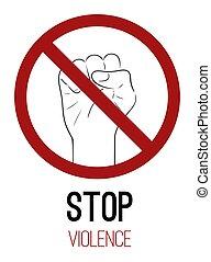 stoppen, element, menselijke vuist, vector, verticaal, verbod, tekening, schets, meldingsbord, violence., verbod, war., text., kaart