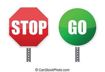 stoppen, gaan, meldingsbord, illustraties