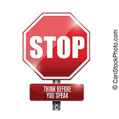 stoppen, illustratie, meldingsbord, u, spreken, denken, voor