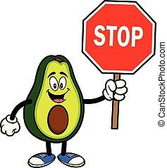 stoppen, mascotte, avocado, meldingsbord