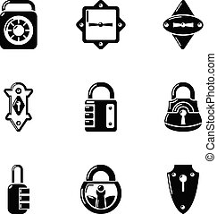 Stopper icons set, simple style - Stopper icons set. Simple...
