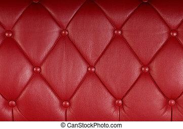 stoppning, genuin, läder, struktur, bakgrund, röd