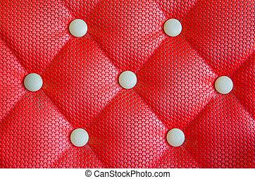 Stoppning, läder, soffa, bakgrund, mönster, röd