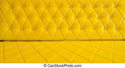 Stoppning, läder, soffa, gul, bakgrund, mönster