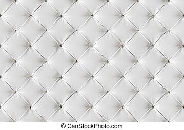 Stoppning, läder, soffa,  seamless, Struktur, bakgrund, Nappor, mönster, vit