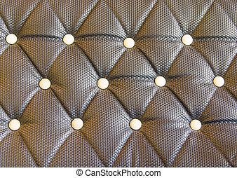 Stoppning, läder, soffa, svart, bakgrund, mönster