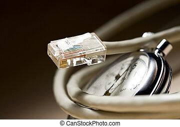 stoppuhr, ethernet, kabel