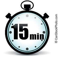 stoppuhr, fünfzehn, minuten