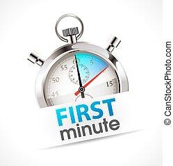stoppuhr, promo, -, minute, zuerst