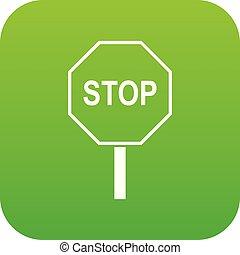 stopschild, grün, digital, straße, ikone