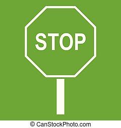 stopschild, grün, straße, ikone