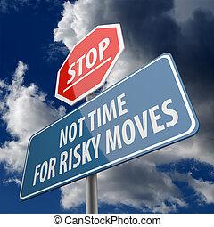 stopteken, woorden, tijd, niet, bewegingen, straat, riskant